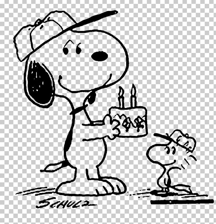 Snoopy Woodstock Black And White Birthday Drawing PNG.