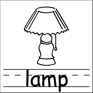 Clip Art: Basic Words: Lamp B&W Labeled I abcteach.com.