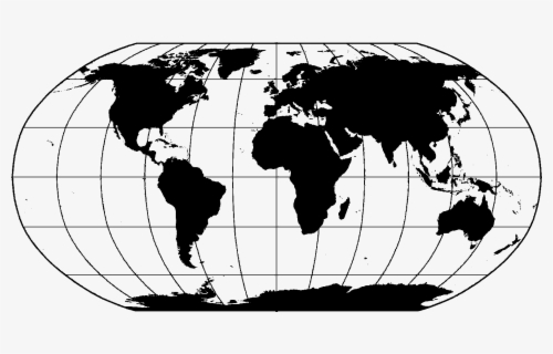 Free World Map Black And White Clip Art with No Background.