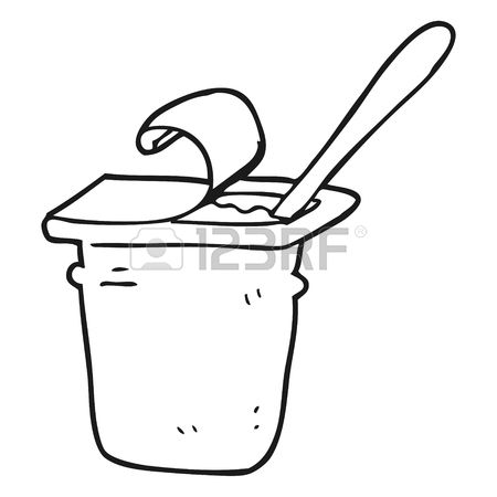 Yogurt Black And White Clipart.