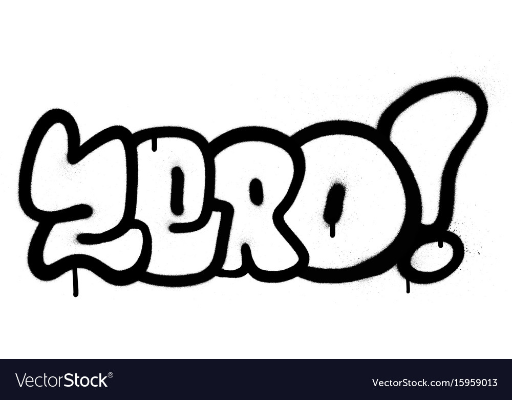 Graffiti sprayed zero word in black on white.