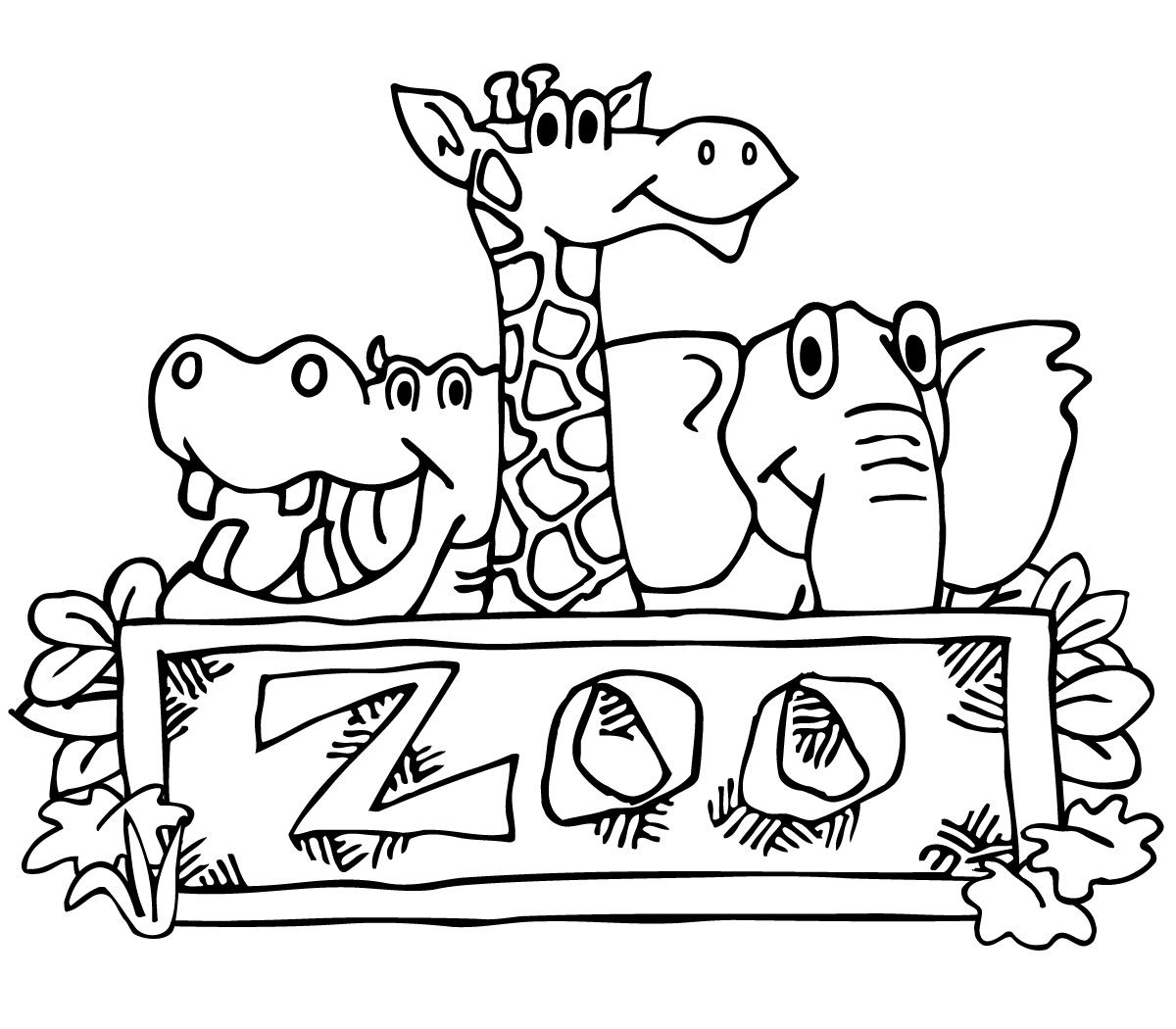 Clipart Zoo Black And White.