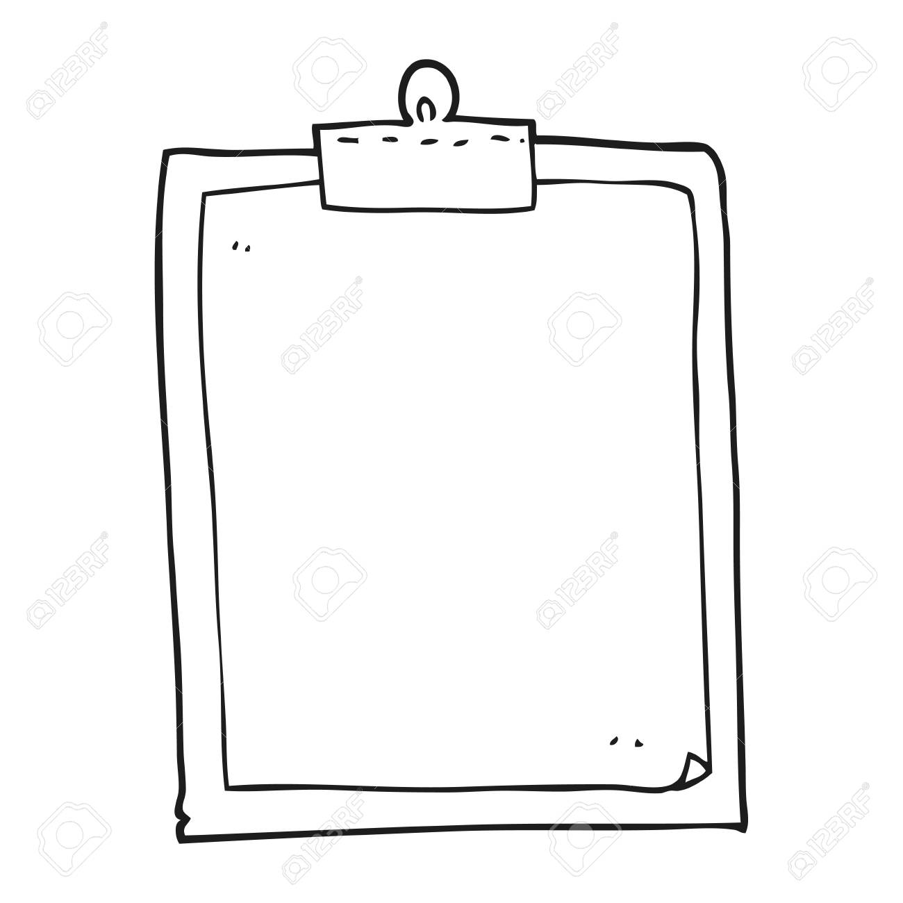Black and white cartoon clipboard » Clipart Station.