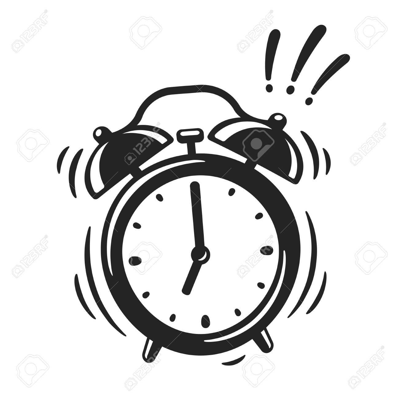 Hand drawn alarm clock ringing, black and white icon. Retro style...