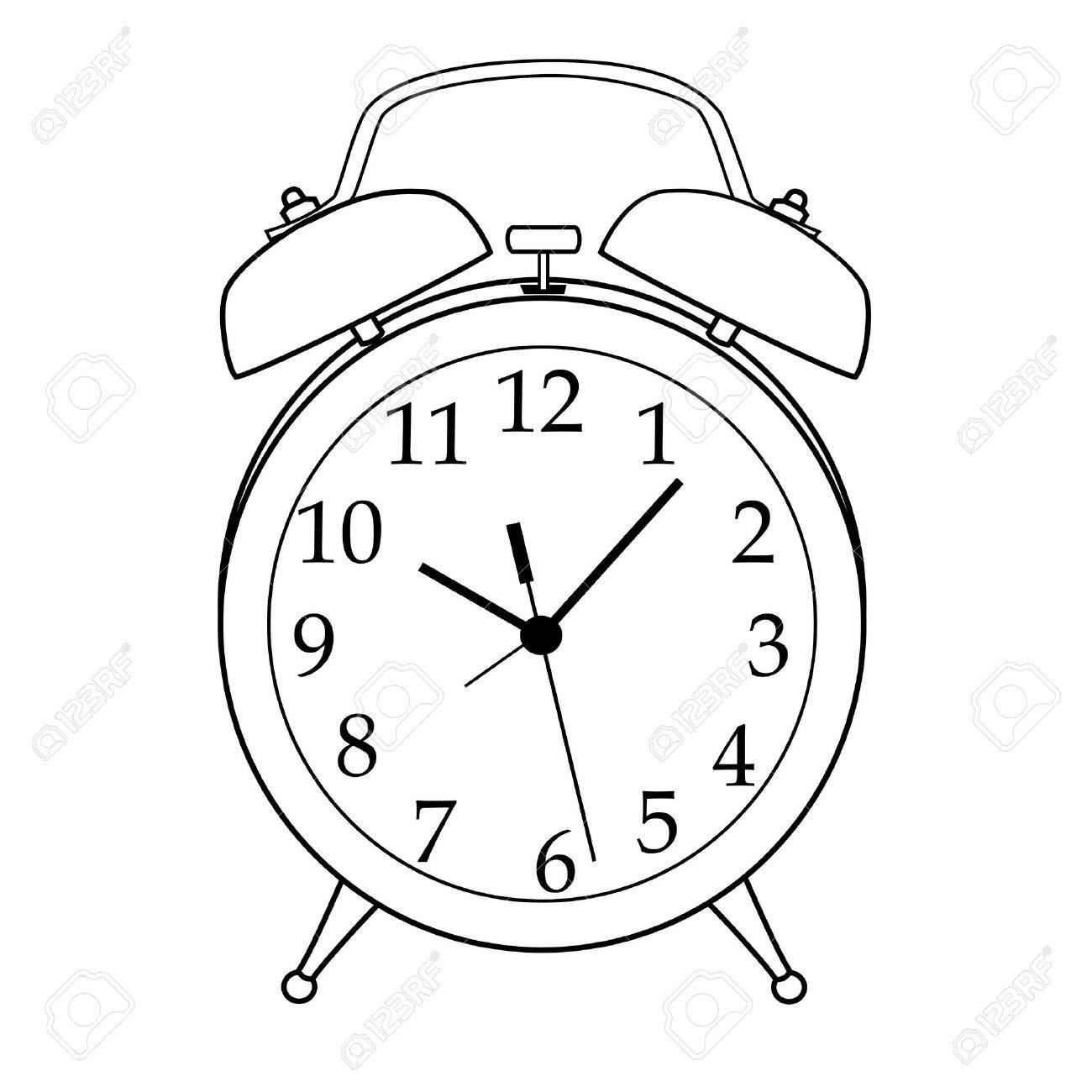 Illustration of isolated black and white cartoon alarm clock.