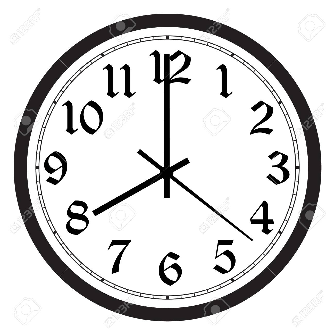 Vector simple classic black and white round wall clock isolated...