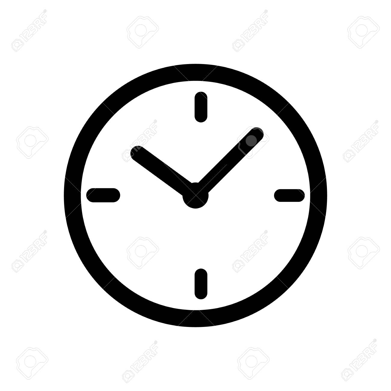 Black time clock icon isolated on white background.