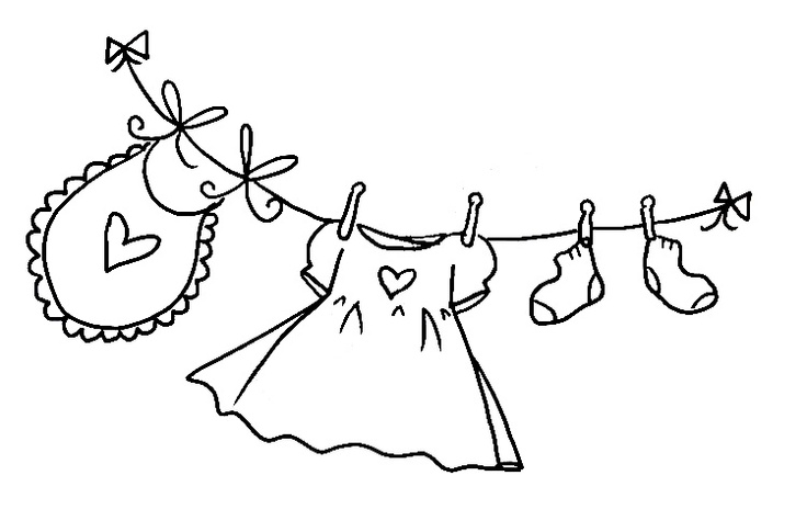 Clothesline Black And White Clipart.