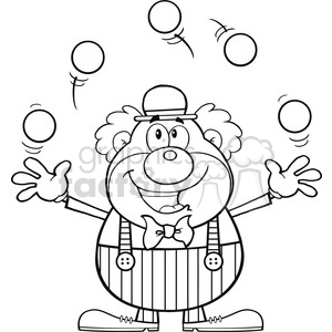 Royalty Free RF Clipart Illustration Black and White Funny Clown Cartoon  Character Juggling With Balls clipart. Royalty.