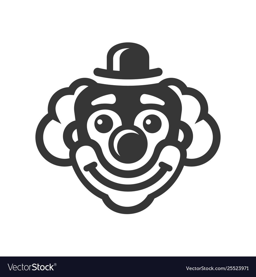 Smiley clown face icon on white background.