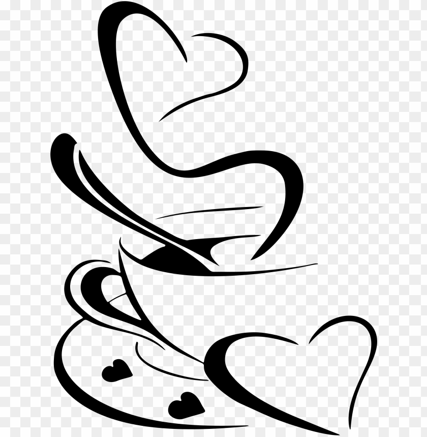 coffee clipart black and white heart.