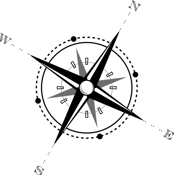 Black And White Compass clip art Free vector in Open office.