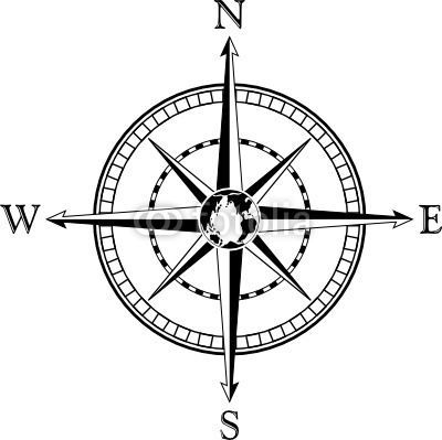 Black And White Compass Clipart.