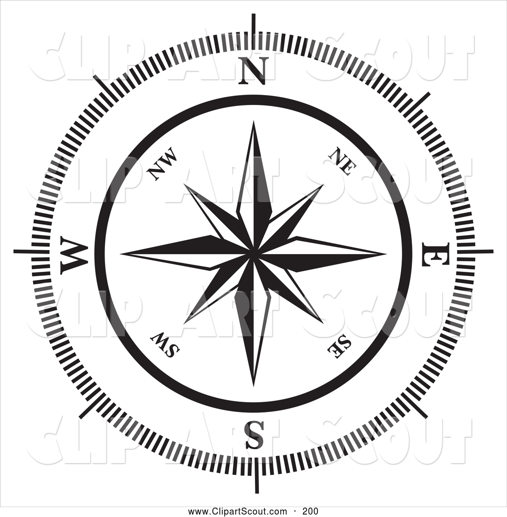 Compass Clipart Black And White.