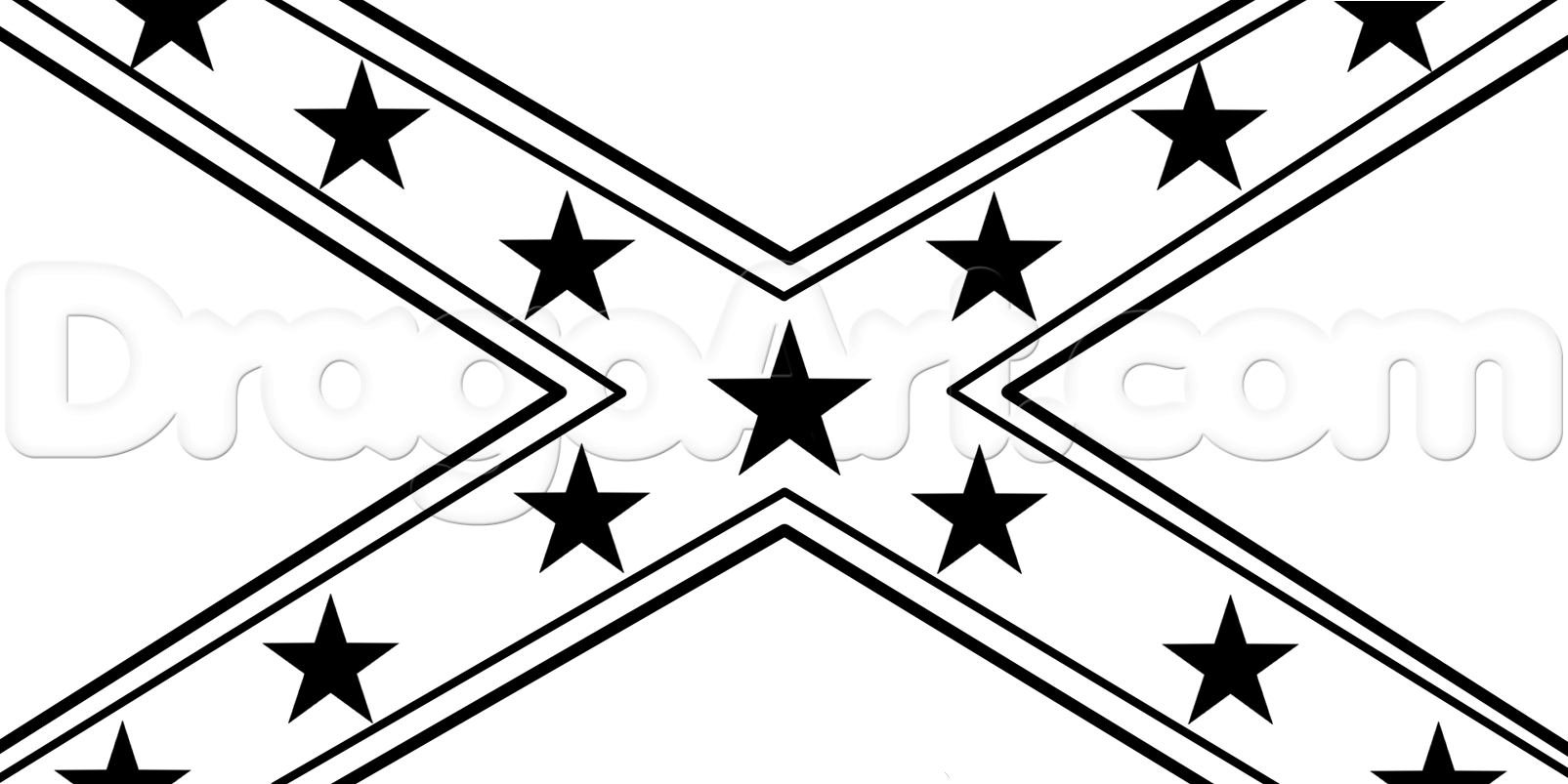 Drawing a Rebel Flag, Step by Step, Symbols, Pop Culture, FREE.