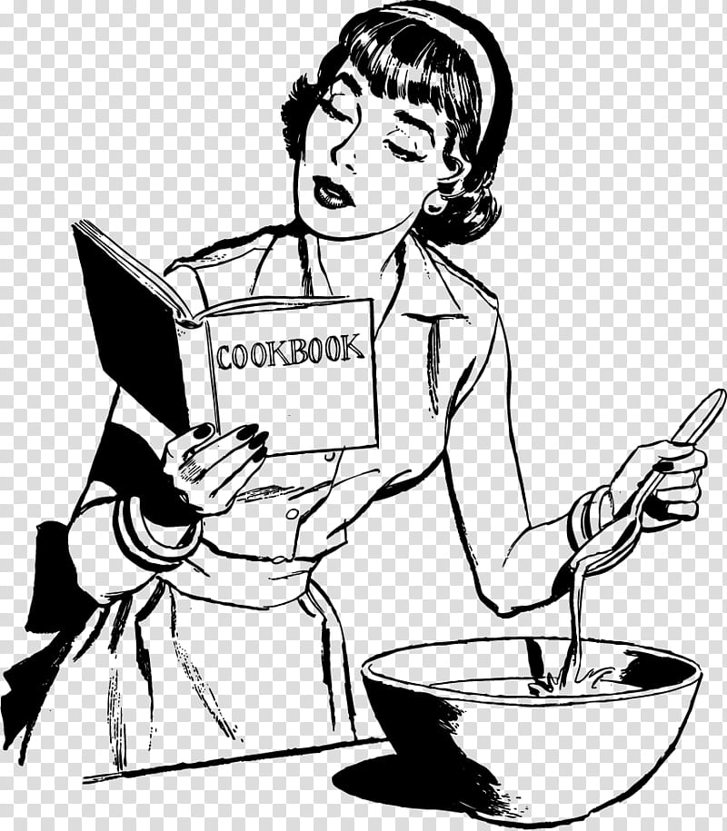 Vintage ladies, woman cooking with cookbook transparent.