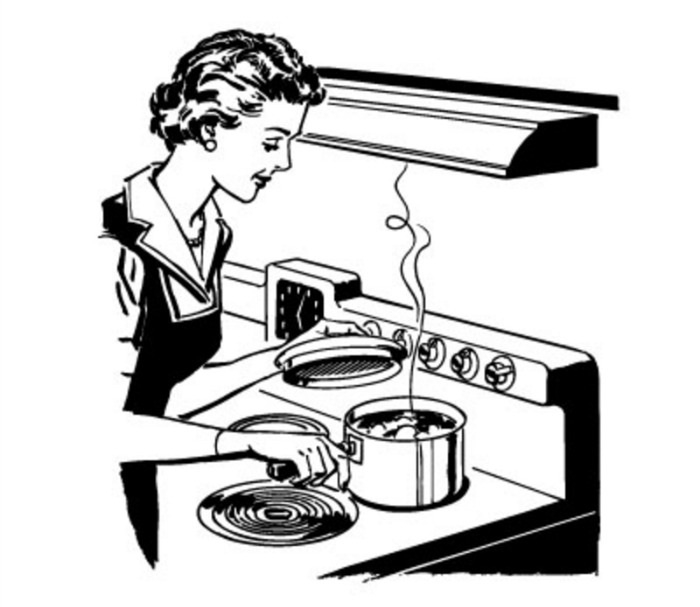 Woman Cooking Clipart Black And White Hd.
