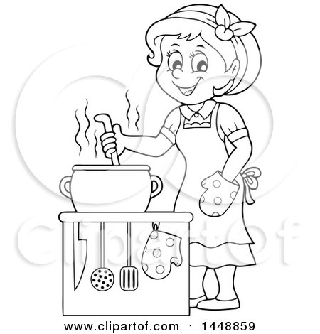 Mother Cooking Clipart Black And White.