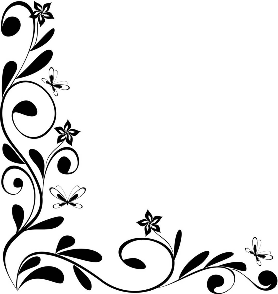 Black and White Floral Corner.