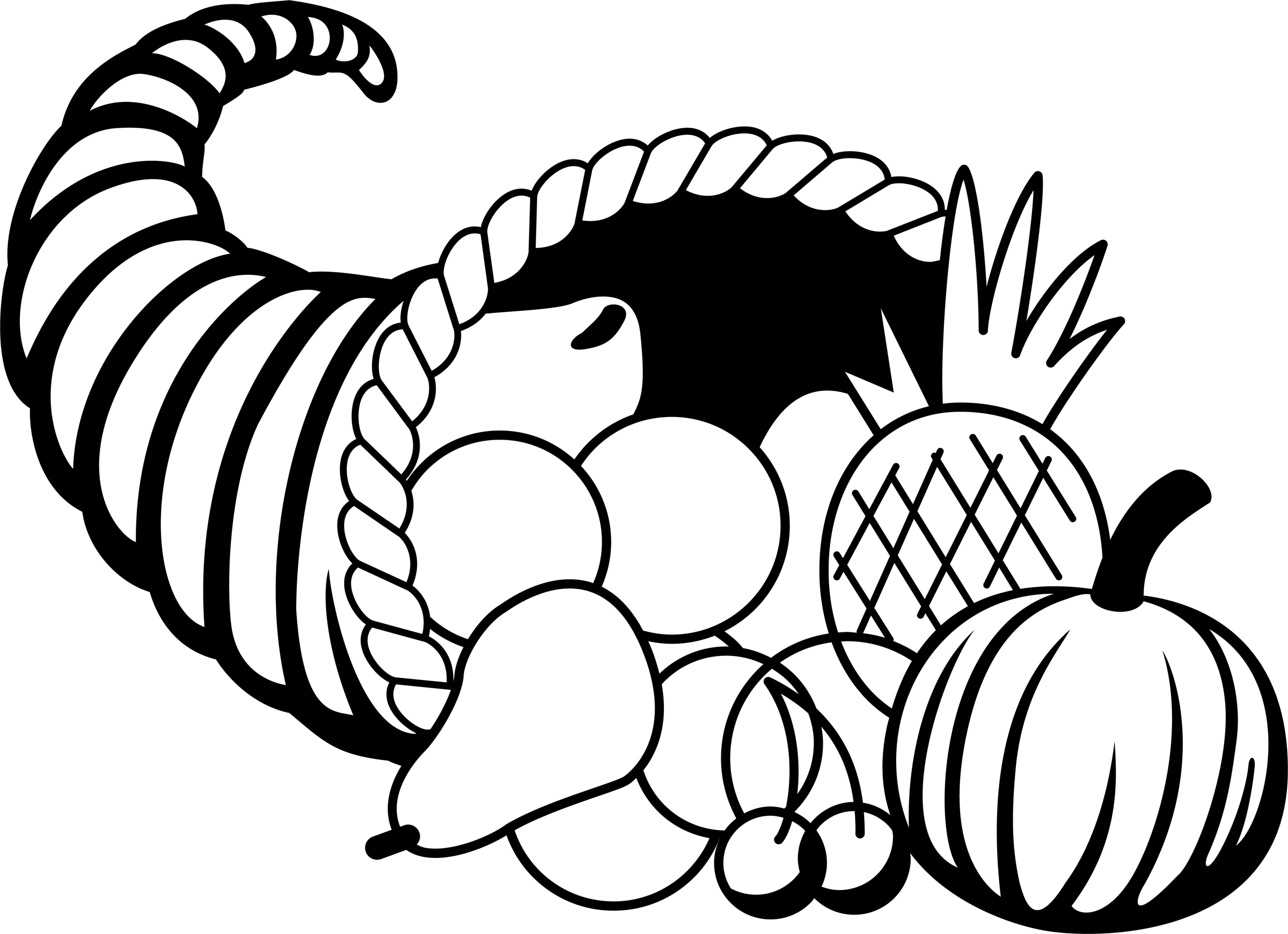 Black And White Cornucopia Clipart.