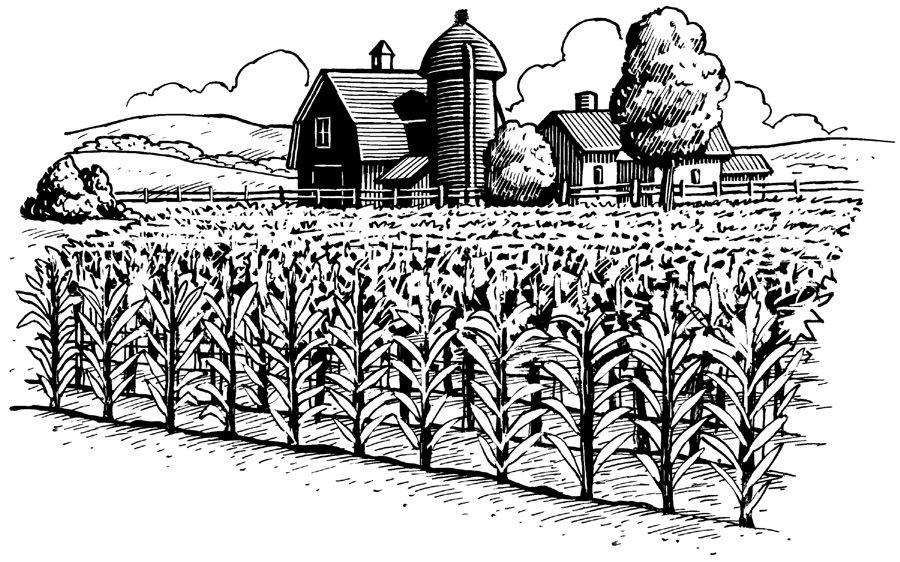 farm silhouette.