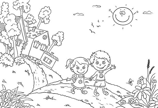 Kids in the countryside, black and white » Clipart Station.