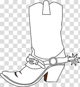 White cowboy boot illustration, Black and White Cowboy Boot.
