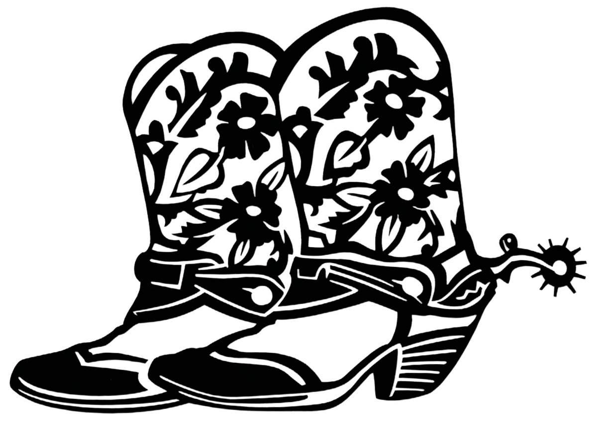 Free Cowboy Boots Black And White Clipart, Download Free.