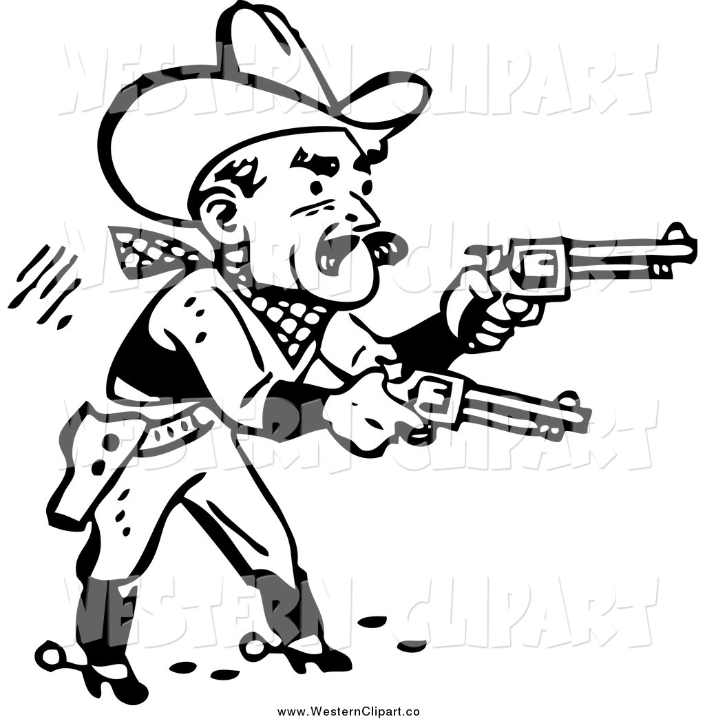 Vector Clip Art of a Black and White Retro Cowboy Shooting Pistols.