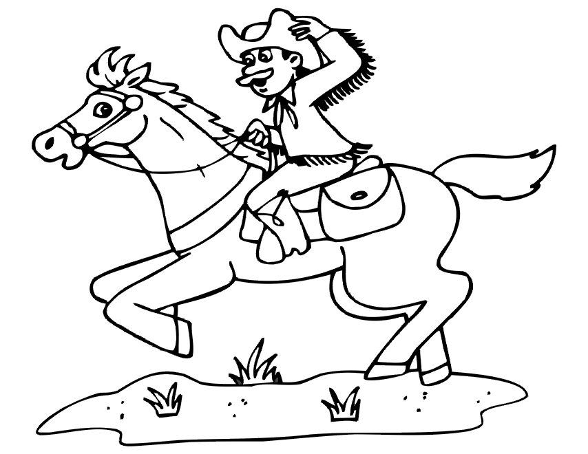 Black And White Cowboy Clipart Riding Horse.