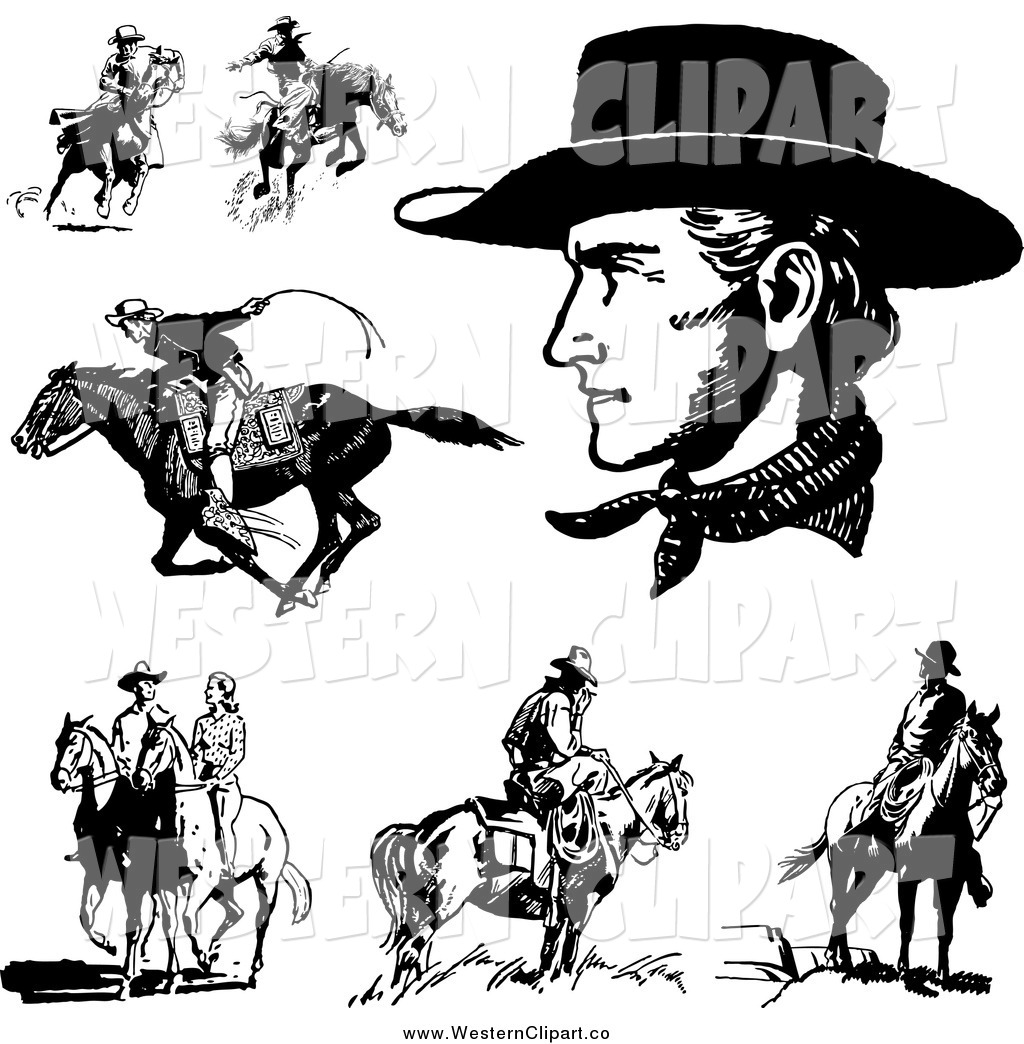 Vector Clip Art of Black and White Cowboys Horses and a Couple by.