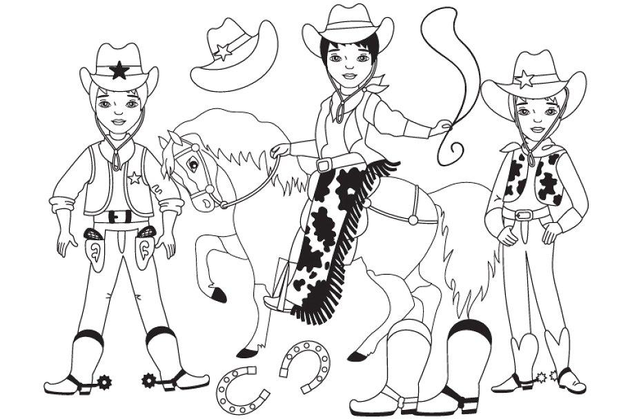 Vector Black and White Cowboy Set.