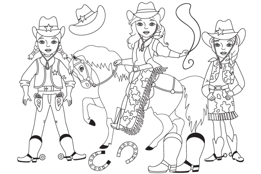 Vector Black and White Cowgirl Set.
