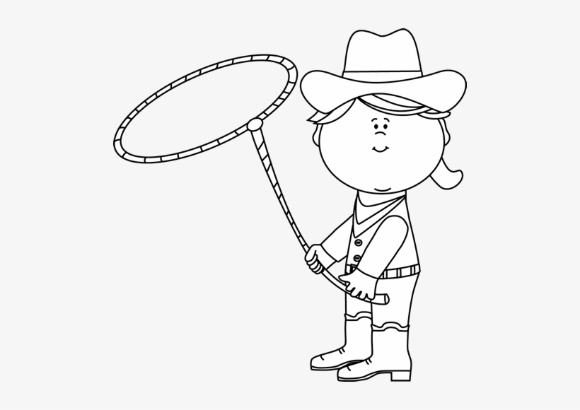 Black And White Cowgirl With A Lasso Clipart.