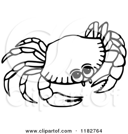 Clipart of a Black and White Crab.