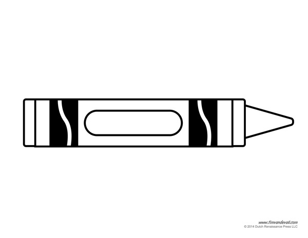 Black And White Crayons Clipart.