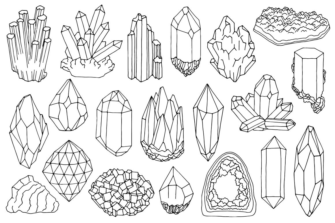 Watercolor crystals, minerals, gems clipart set by Just.