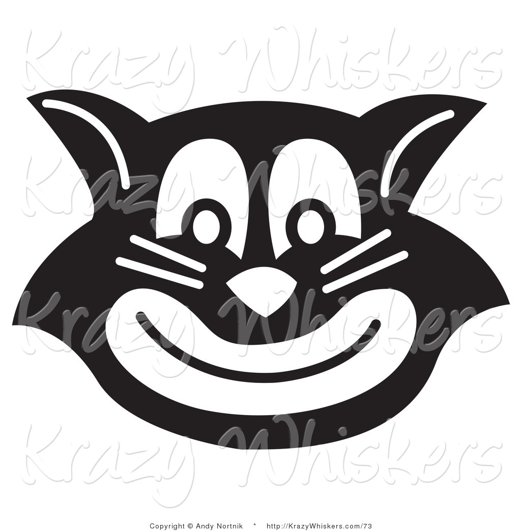 Critter Clipart of an Evil Black and White Cat Grinning by.