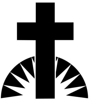 Black white image black and white sunrise cross cliparts.