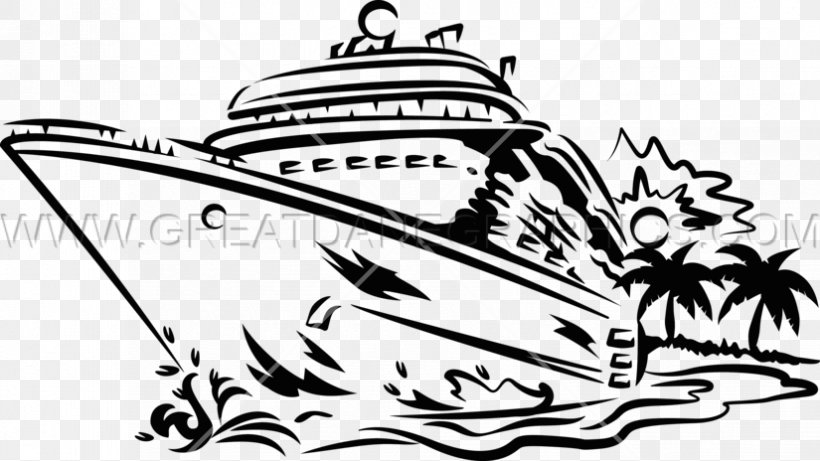 Clip Art Cruise Ship Black And White Image, PNG, 825x464px.