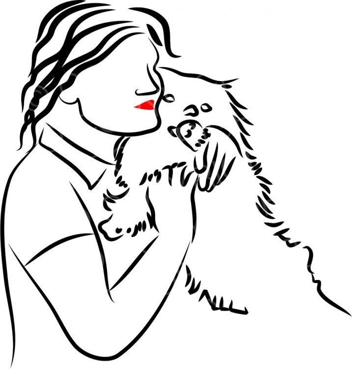 Lady Cuddling a Fluffy Dog Prawny Black and White People.