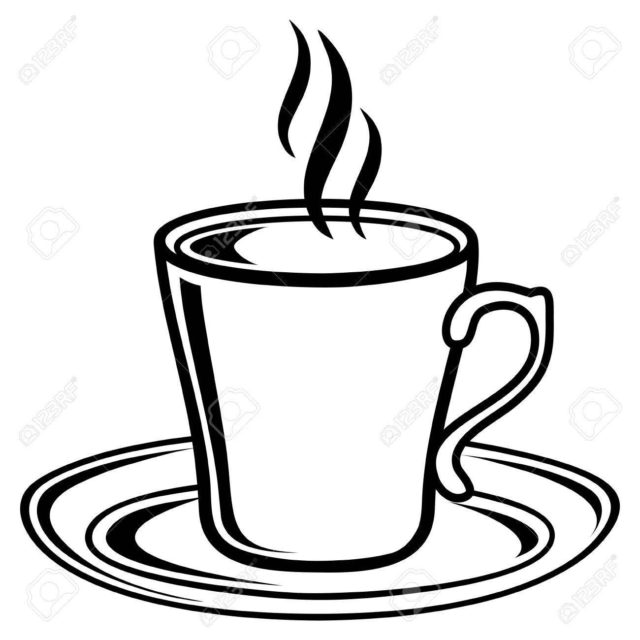 Black and white coffee tea cup icon.