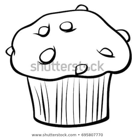 Black White Cartoon Illustration Sweet Muffin Stock Expert Cupcake.