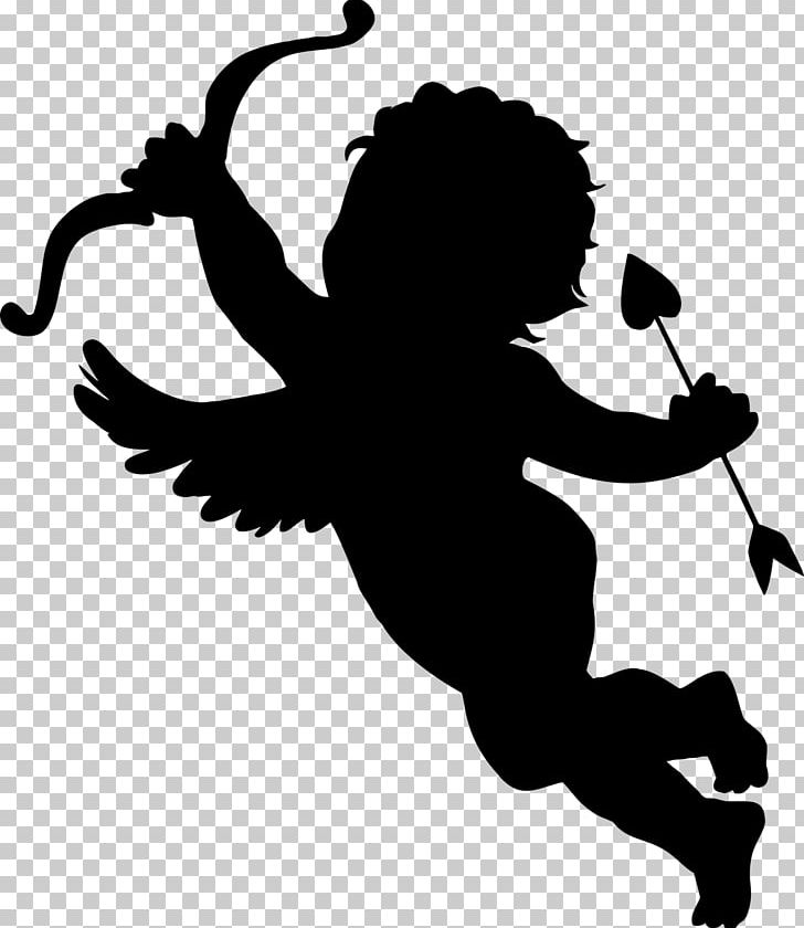 Silhouette Cupid PNG, Clipart, Animals, Art, Black And White.
