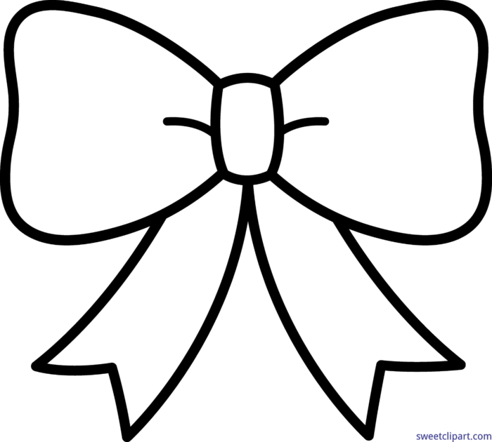 Cute Bow Black White Clip Art.