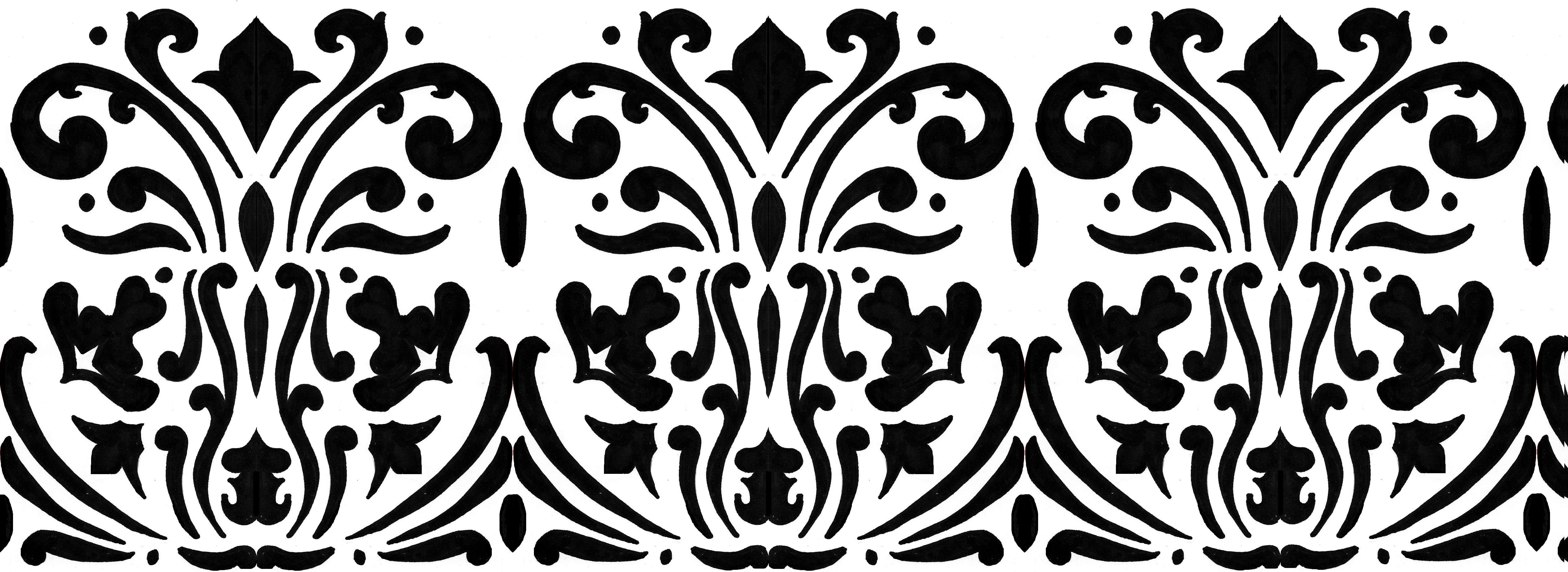 Free Black And White Damask Border, Download Free Clip Art, Free.