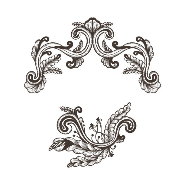 Black And White Damask Border Illustrations, Royalty.