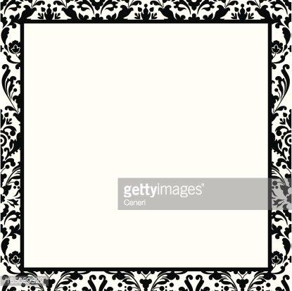 Black and white damask border Clipart Image.