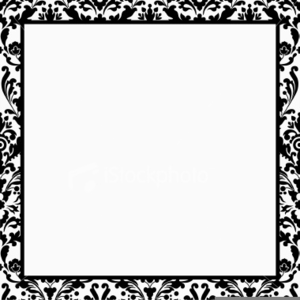 Black And White Damask Clipart Border Free.