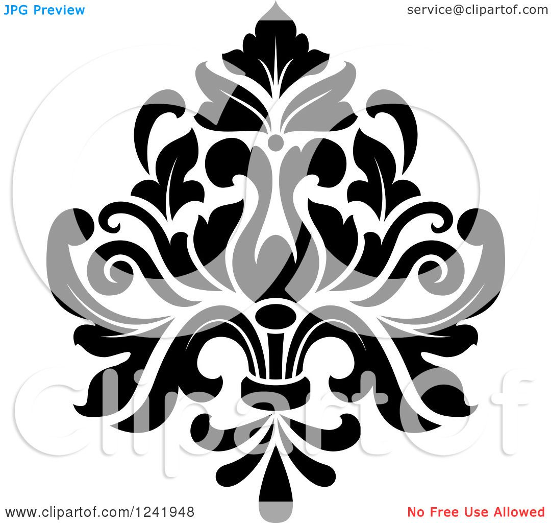 Clipart of a Black and White Arabesque Damask Design 19.